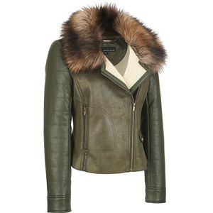 Wilsons XS Faux Leather Green Bomber Moto Jacket